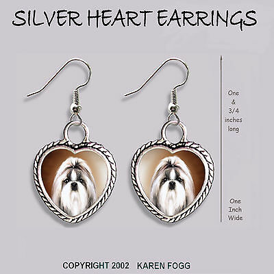 SHIH TZU DOG Show Cut - HEART EARRINGS Ornate Tibetan Silver