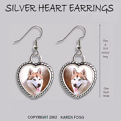 SIBERIAN HUSKY DOG Red - HEART EARRINGS Ornate Tibetan Silver