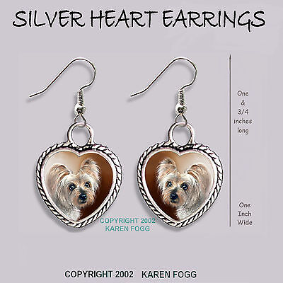 SILKY YORKIE TERRIER DOG - HEART EARRINGS Ornate Tibetan Silver