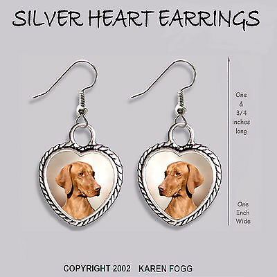 VIZSLA DOG - HEART EARRINGS Ornate Tibetan Silver