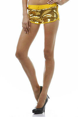 Gold Shorts Sequin Roller Derby Jersey Stretch Metallic Club Mini Sexy Large