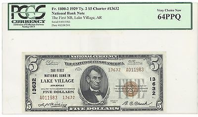 1929 $5 Type 2 The First National Bank in Lake Village AR, PCGS 64 PPQ F# 1800-2
