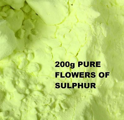 FLOWERS OF SULPHUR POWDER 200g - 99.99 % HIGH PURITY SUBLIMED - HEALTH REMEDY