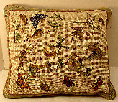 Vintage Handmade Needlepoint Pillow Botanical Butterrfly Dragonfly Insects