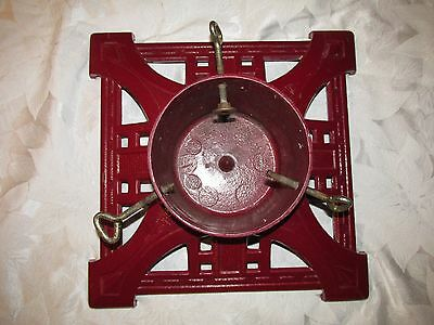 """CAST IRON RED CHRISTMAS TREE STAND - ART DECO LOOK - 14"""" x 14"""" SQUARE - ORNATE"""