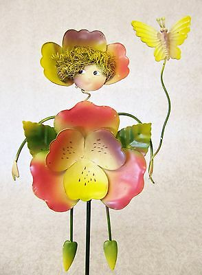 Cute Whimsical Colorful 3D Metal Garden Stake ~ Pink Pansy With Butterfly Fairy