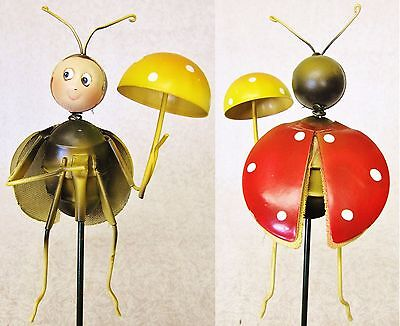 Cute Whimsical Colorful 3D Metal Garden Stake ~ Red Orange Ladybug With Mushroom