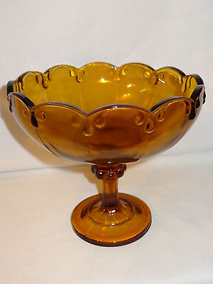 Indiana Glass Amber Teardrop Compote Vintage