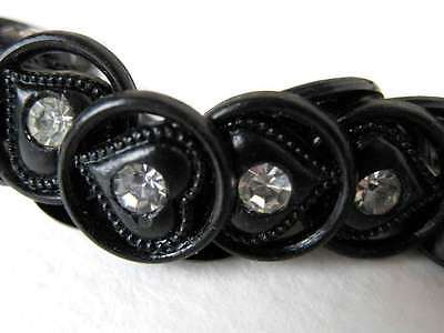 Vintage Rhinestone Buttons Black Hearts Plastic Shank Austria 1950s