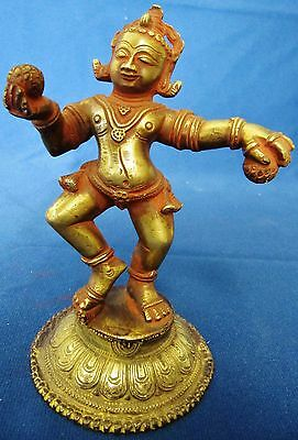 "East India Artifact Hand Cast Bronze Figurine Statue 6"" Tall"