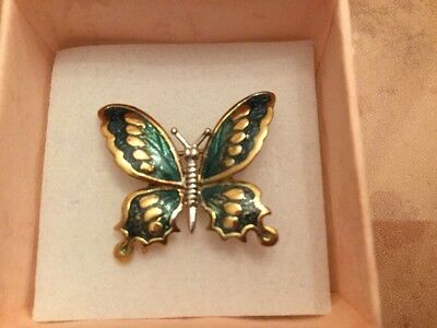 Antique Vintage 14k Yellow and White Gold Emerald Green Enamel Pin Brooch