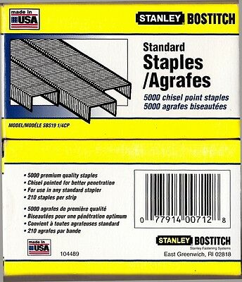 5000 Stanley Bostitch Chisel Point Premium Staples SBS19 1/4CP Made in the USA