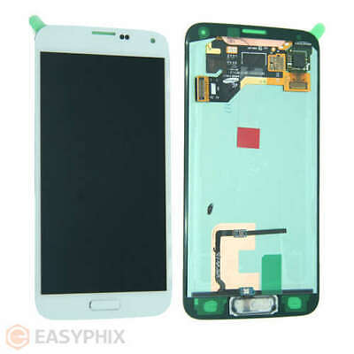 LCD Digitizer Touch Screen Assembly + Button for Samsung Galaxy S5 G900i White