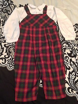 Toddler Boy's Plaid Red Green Longall CHRISTMAS 3t Set Nwot 2 Pc Holiday