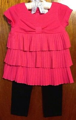 Beautiful Baby Girl's Two Piece Ruffled Outfit With Leggings, Size 12 Months
