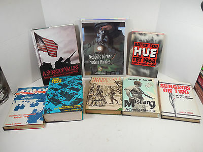 VINTAGE MIXED LOT 8 MILITARY WAR HISTORY BOOKS MARINES ARMY NAVY MILITARIA