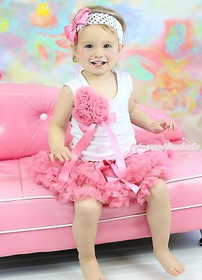 White Shirt Top Bunch Dusty Pink Rose Baby Girl Pettiskirt Clothing Outfit NB-8Y