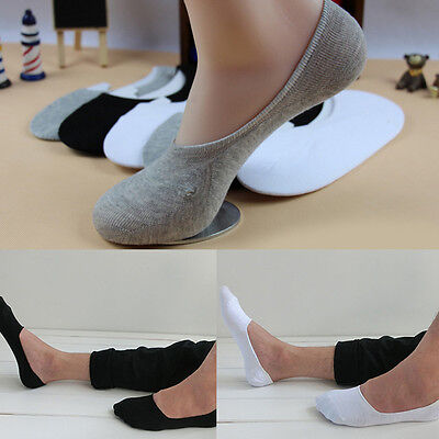 5 Pairs Soft Low Cut Cotton Men Loafer Boat Non-Slip Invisible No Show Socks