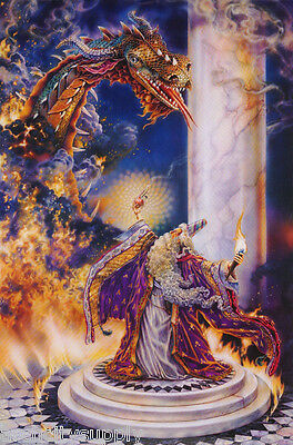 POSTER;FANTASY: WIZARD FIGHTING DRAGON - FREE SHIPPING   #PTW730  RAP131 B