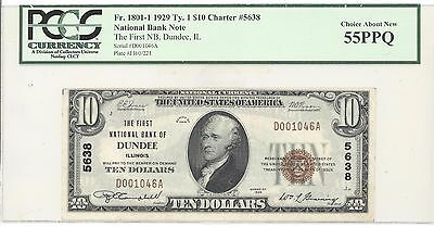 1929 $10 Type 1 The First National Bank of Dundee, IL PCGS 55 PPQ F# 1801-1