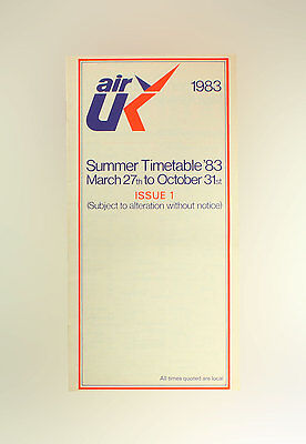 Air UK Airline Timetable March 27 to October 31, 1983