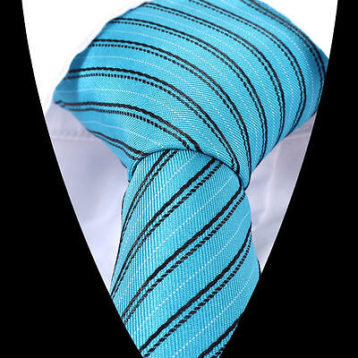 NEW!!!!  100% SILK  CLASSIC TURQUOIS BLUE WITH BLACK STRIPED NECKTIE