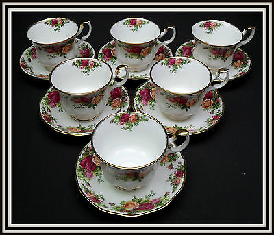 "6 ROYAL ALBERT ""OLD COUNTRY ROSES""  TEA CUPS & SAUCERS MADE IN ENGLAND, 1ST Q"
