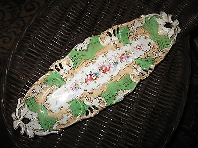 HANDPAINTED DRESSER TRAY PIN DISH Bavaria Germany Vintage Serving Gold Grn Candy