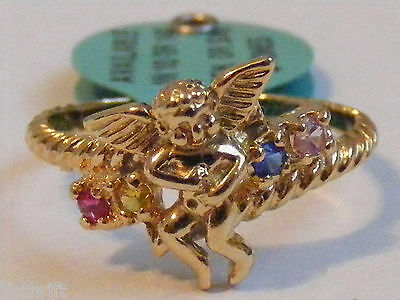 GOLD TONE SIZE 7 RING ANGEL MOTHERS GRANDMOTHERS SIMULATED STONES PINK BLUE YELW