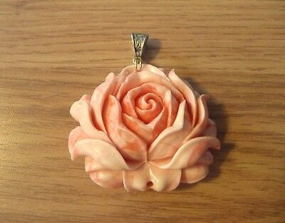 Pink Shell Rose Flower Hand Carved Pendant #2