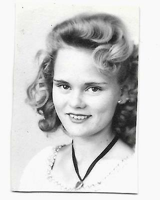 2 Vintage Old 1940's Photo Booth Snapshot Pretty Blonde School Girl Wears Choker
