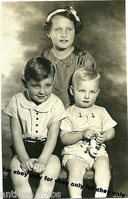 Vintage Old Photo 3 CUTE little Boys & Girl Brothers Sisters Holding Toy 1930's