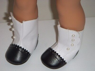 """Black and White Victorian Style Boots Fits 18"""" American Girl Doll Clothes"""