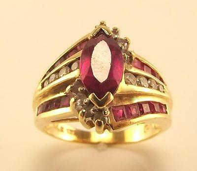 14KT YELLOW GOLD SYNTHETIC RUBY & GENUINE DIAMOND CLUSTER RING SIZE 5.5 RT1