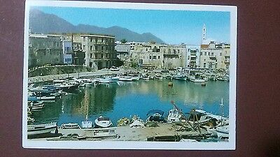 Cyprus Christmas postcard: Kyrenia Partial view of the harbour, before 1974.