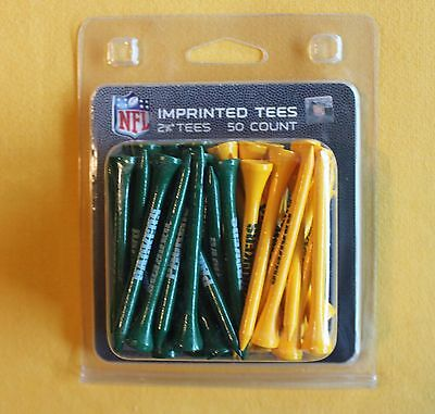 """Green Bay Packers NFL Imprinted 2 3/4"""" 50 Count Golf Tees NEW"""