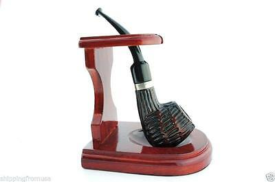 """Tobacco Pipe Wood Stand Rack  - Single Smoking Pipe Holder  - 3"""" x 4"""""""