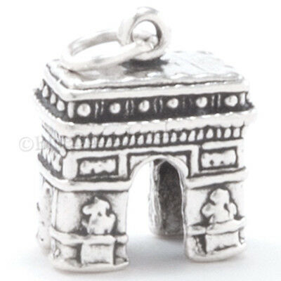 3D ARC DE TRIOMPHE Pendant Paris France TRAVEL Charm STERLING SILVER Nice Detail