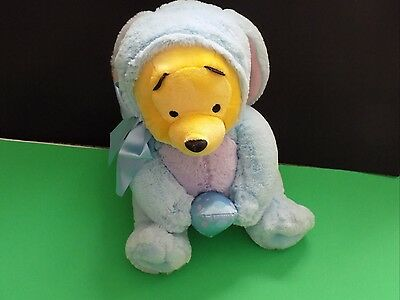 """Disney Store Winnie The Pooh Baby Plush Stuffed Easter Bunny Egg 12"""" Very Soft"""