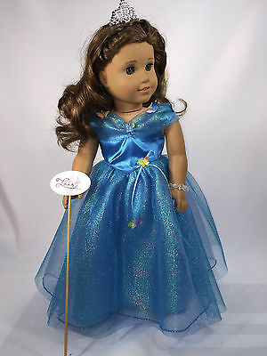 "AG DRESS PRINCESS CINDERELLA 2015 HANDMADE W/CROWN FIT 18"" AMERICAN GIRL DOLL"