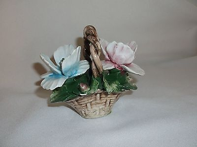 Capodimonte Miniature Basket with Blue Pink Flowers