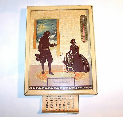 Silhouette Picture Calender Thermometer 1940 Newton MFG Co