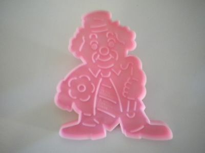 Wilton 1990 Plastic Pink Clown With Cane Cookie Cutter with Handle