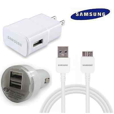 OEM Samsung Wall Charger + Car + USB 3.0 Data Sync Cable For Galaxy Note 3 S5