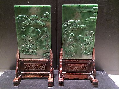 A PAIR OF CHINESE ANTIQUE SPINACH GREEN JADE TABLE SCREENS 19TH/20TH CENTURY