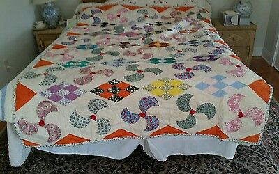 Antique 1920's Calico Pinwheel Diamond Hand Stiched Quilted Heirloom Quilt