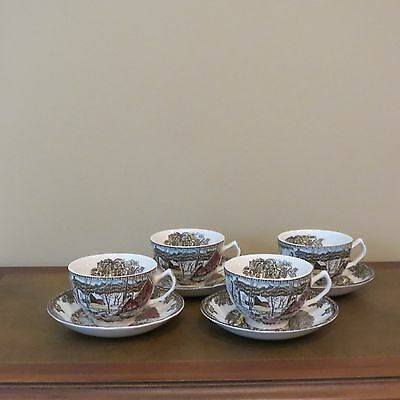 """Set of 4 Johnson Brothers Friendly Village"""" The Ice House"""" Coffee Cup & Saucer"""