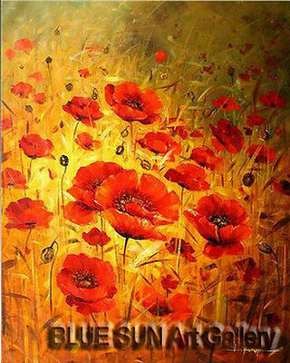 Modern oil painting on Canvas Wall Art Deco Poppy Flower Hand Painted 20×24 BD12