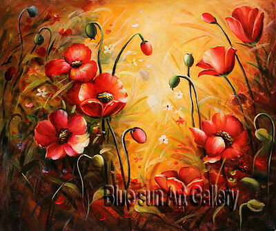 Modern abstract oil painting on Canvas Wall Art room Poppy Flower Deco ABD184