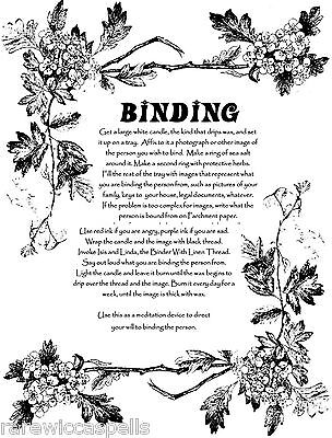 Powerful Binding Spell Wicca Book of Shadows Page on Parchment